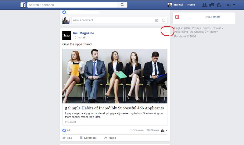 facebook bookmark page