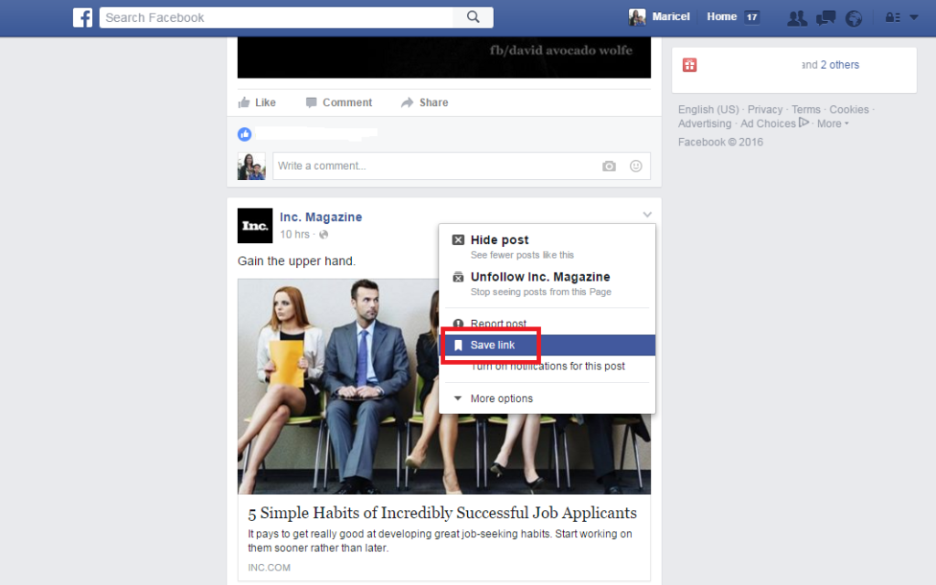 facebook bookmark feature