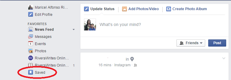 facebook bookmark feature