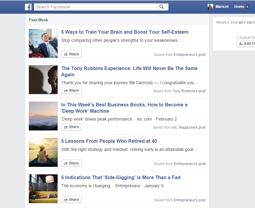 facebook bookmark page